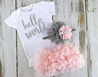 Newborn Pink Ruffle Bloomers and Headband Set / Pink Aqua