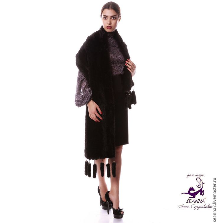 Купить Палантин из вязаного меха норки, шарф, накидка в любом цвете - черный, норковый палантин