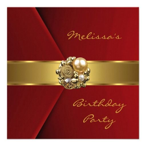 Best Th Birthday Party Invitations Images On Pinterest - Red and gold birthday invitation templates