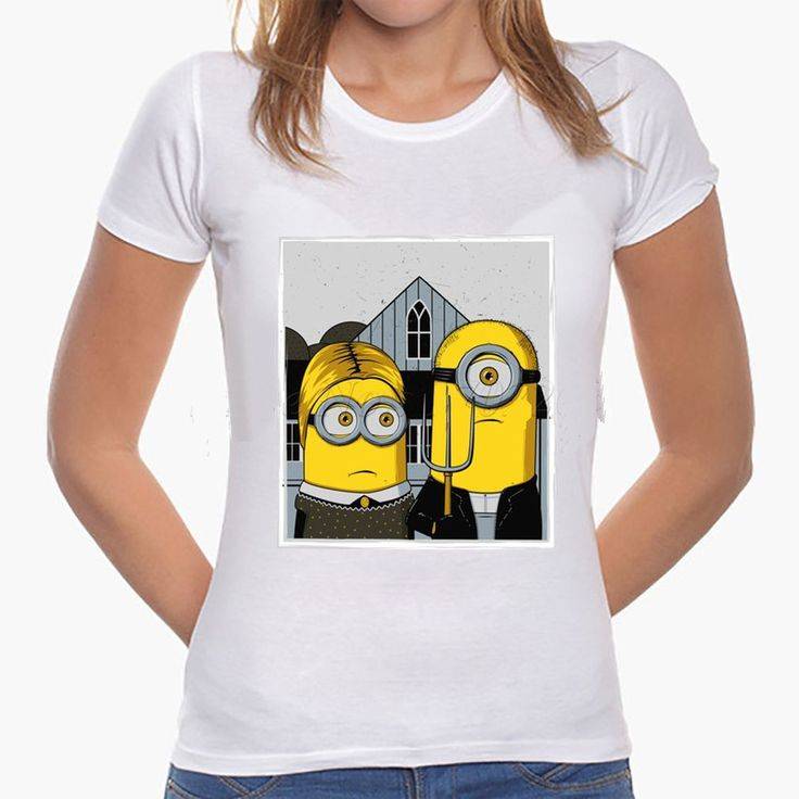 """Minions as """"American Gothic Couple"""" Women or Mens T-Shirt"""