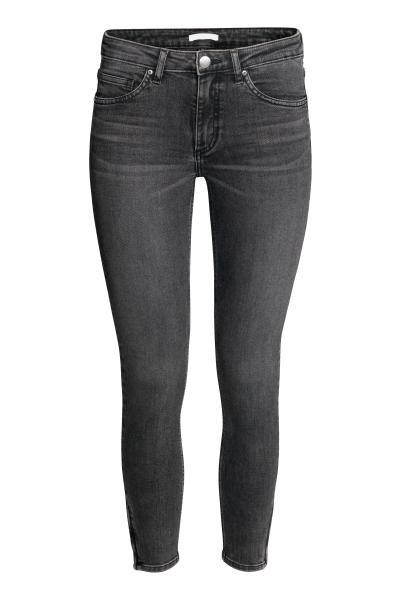 Skinny Low Ankle Jeans: Enkellange 5-pocketjeans van elastisch, gewassen denim met een lage taille en extra smalle pijpen met een blinde ritssluiting onderaan.