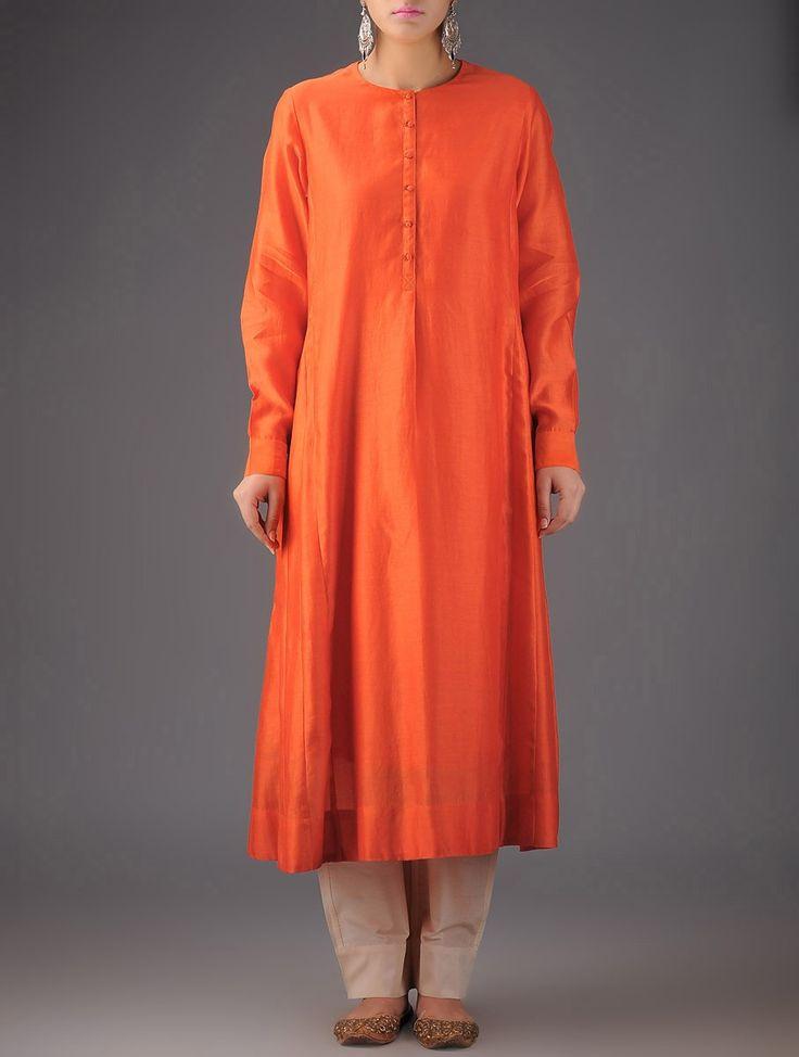 Buy Orange Cream Chanderi Kurta with Palazzos (set of 2) : Silk Apparel Tunics & Kurtas Festive Glamor Hand Block Printed and Embroidered Cotton Online at Jaypore.com