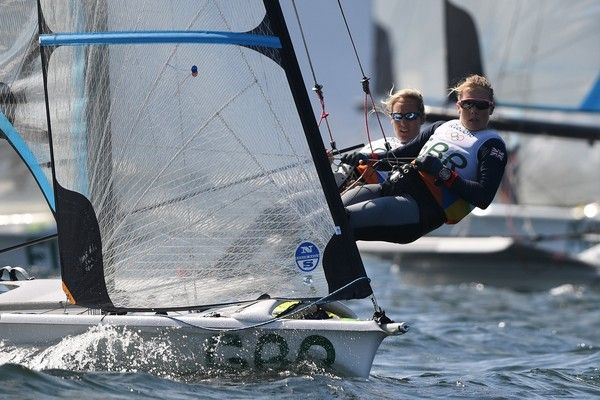 Britain's Charlotte Dobson and Sophie Ainsworth compete in the 49ers FX Women…