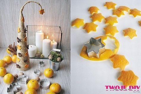 - kawałek tektury - sznurek - klej na gorąco - drut - kilka skórek pomarańczy - foremki do ciastek (np. gwiazdki) - anyż gwiazdkowy