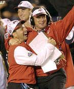 Super Bowl XXXVII   Jon Gruden celebrates as his Buccaneers wrap up a Super Bowl title in his first season in Tampa Bay. The Buccaneers' defense intercepted five passes, three of which were returned for touchdowns, and recorded five sacks as Tampa Bay scored 34 unanswered points en route to its first Super Bowl victory. #TampaBay #Buccaneers
