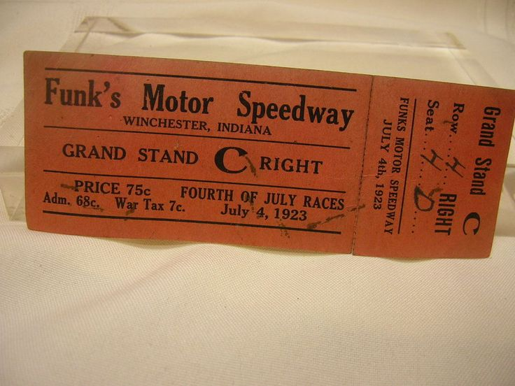 Vintage 1923 Winchester Indiana Funk's Motor Speedway Ticket 4th of July War Tax