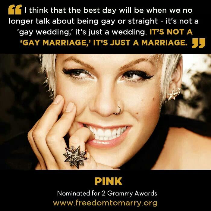 Pink on gay marrige and other life issues