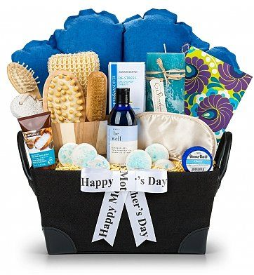 Spa Retreat Mothers Day Gift Basket - organic massage oil, aromatherapy salts, bath pillow, candle and more. Everything Mom needs for an at-home spa vacation! $79.95