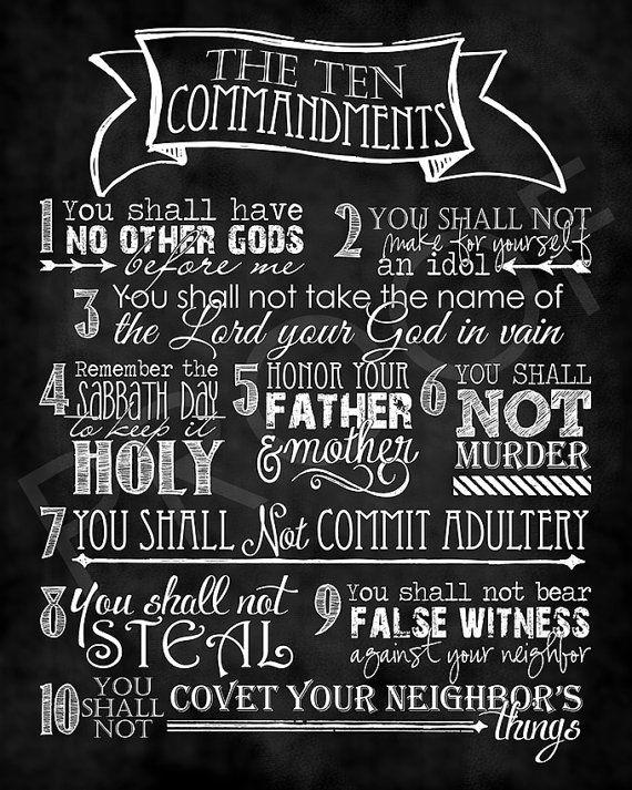 Scripture Art - The Ten Commandments ~ Chalkboard Style