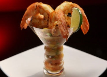 Twisted Prawn Cocktail with Paw Paw and Avocado Salsa