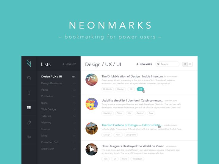 Neonmarks - Bookmarking for Power Users | Web App User Interface Design #UI