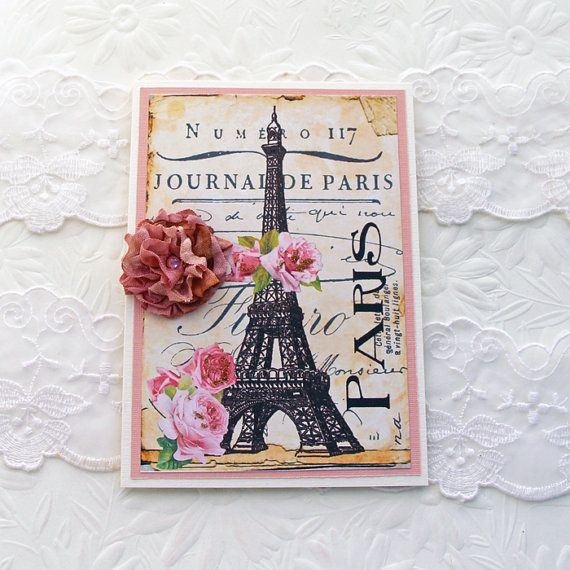 Card Eiffel Tower Paris Birthday Thinking of by EnchantedQuilling