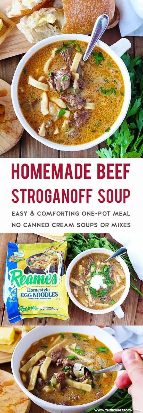 An Easy Beef Stroganoff Soup made in one pot on the stove-top using simple ingredients (no canned cream soups or mixes) in about one hour.  Each spoonful is packed with tender beef, earthy mushrooms, fragrant onion & garlic, thick & hearty noodles, and a rich, slightly creamy & savory broth. This is simple comfort food at its best! Fix a batch any time you're craving a stick-to-your-ribs meal that'll keep you warm. #Reames #Homemadegoodness #ad #soup #souprecipes @WFDRecipe #holidayrecipes