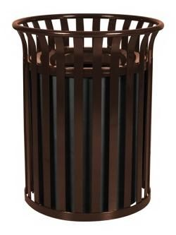 Excell 39 Gallon Metal Outdoor StreetScape Waste Receptacle Brown