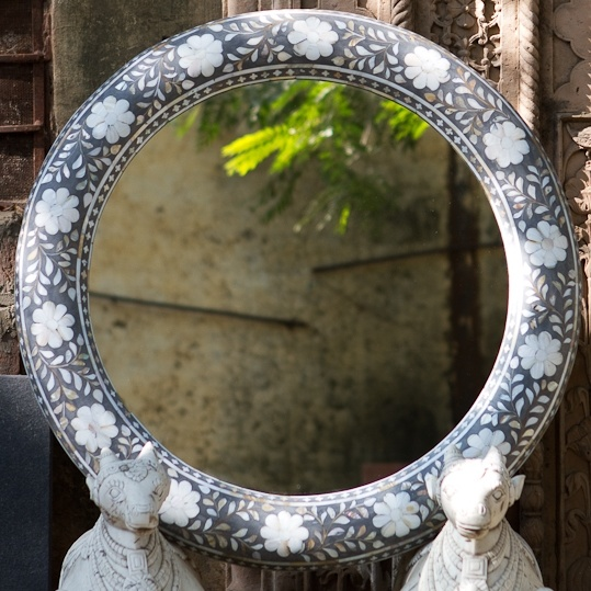 Mother of Pearl Inlay Round Mirror - Grey - Taupe
