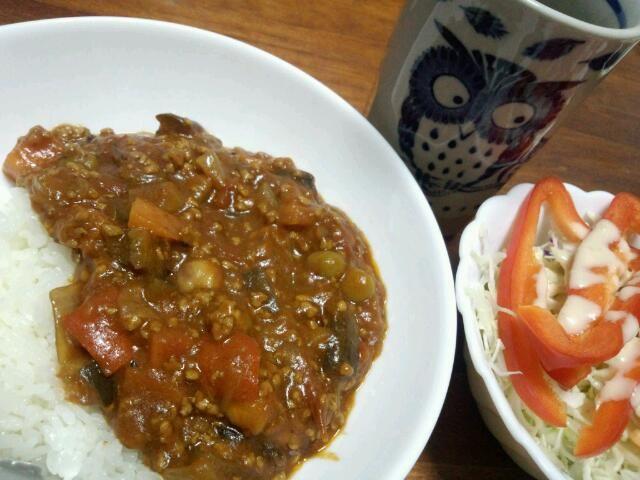 トマトベースで! ナス、人参、玉ねぎ、豆、パプリカ! - 9件のもぐもぐ - トマトカレー(●´ω`●) by haginomoon