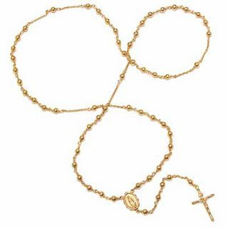 """RM® Rosary Necklace in Bronze with 14K Gold Plate - 26"""" 