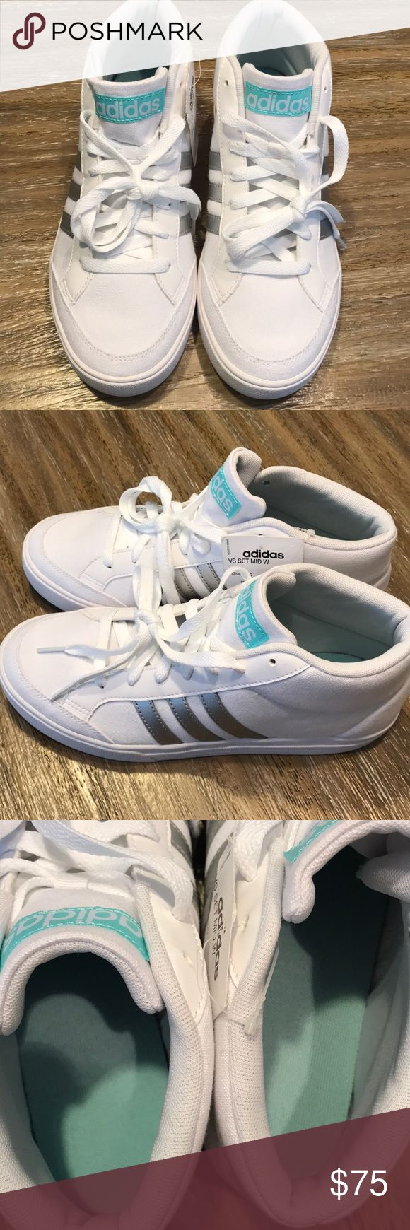 🤩New!!! Adidas shoes!! Brand new without box!! White mid top tennis shoe with silver metallic adidas stripes and tiffany blue tongue! NWT!! adidas Shoes Sneakers