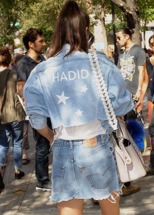 Bella Hadid in Jeans Short Skirt -04
