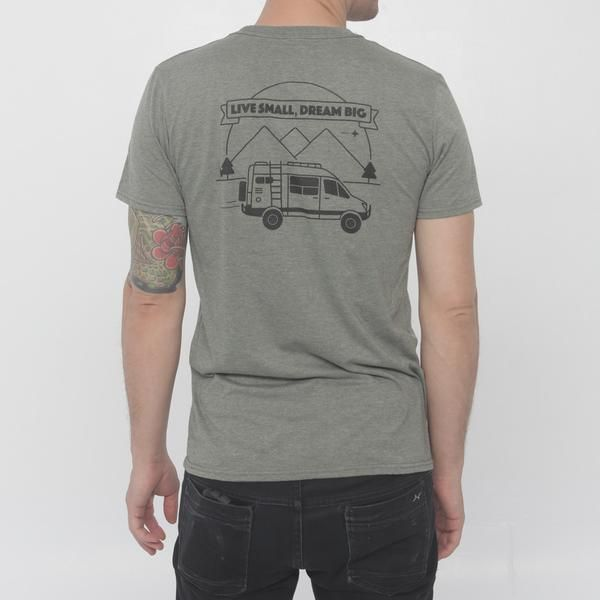 Any Sprinter fans out there? This rig will take you (almost) anywhere! Heather military green t-shirt with a black logo print in the front and a badass design in the back. Order yours before we run out.  Hand printed somewhere on the road in CanadaCotton and polyester blendAvailable in S-M-L-XLRegular fitModel is 6' (180 cm) and wears a medium