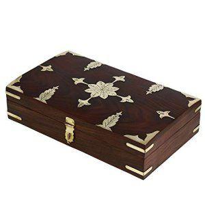 Antique Style indien Boîte à bijoux en bois faite à la main pour femme 30 X 18 X 6 cm