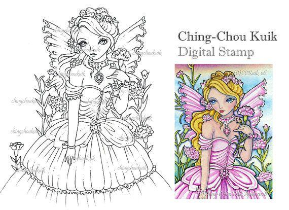Hadas de clavel - sello Digital instantánea descargar / flor chica Lady Fantasy Art por Ching-Chou Kuik