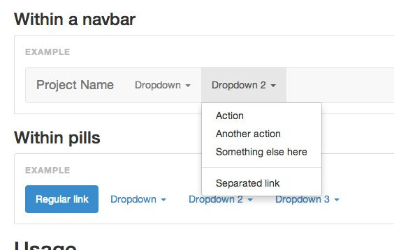 Screen grab of a Bootstrap dropdown component from http://getbootstrap.com/javascript/#dropdowns