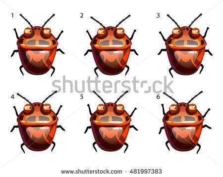 Cartoon vector red disgusting beetle. Run animation frame by frame
