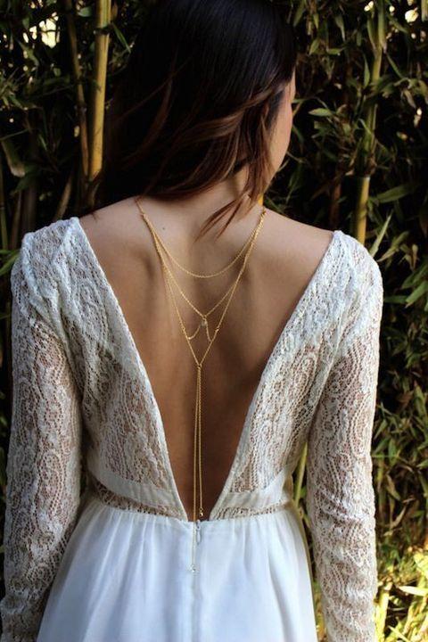 Bridal Back Necklace: 42 Adorable Ideas | HappyWedd.com