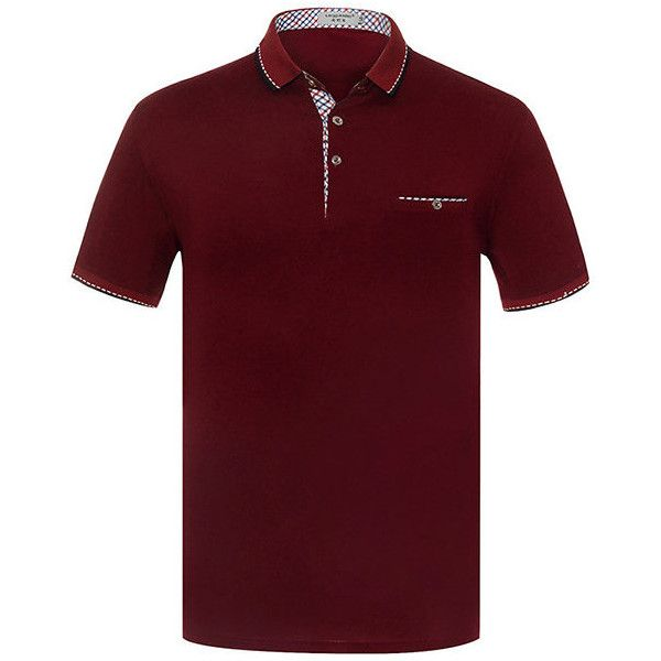 s Spring Summer Polo Shirt Soft Cotton Solid Color Short Sleeve Casual... (€15) ❤ liked on Polyvore featuring men's fashion, men's clothing, men's shirts, men's polos, men tees & tank top polo, wine red, mens short sleeve cotton shirts, mens shirts, mens cotton shirts and mens long sleeve summer shirts
