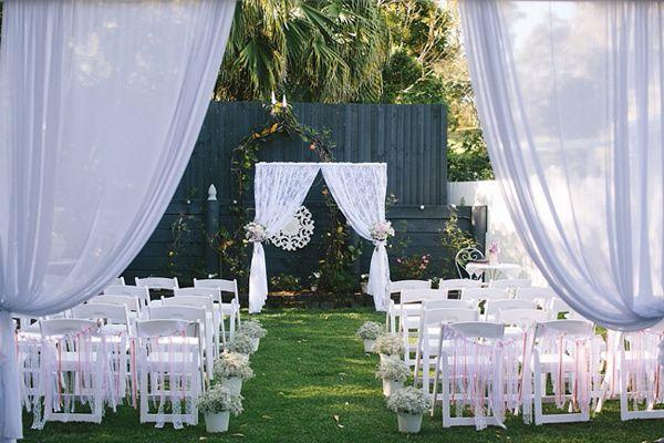 outdoor wedding ceremonies // via ruffledblog.com Dress the gazebo