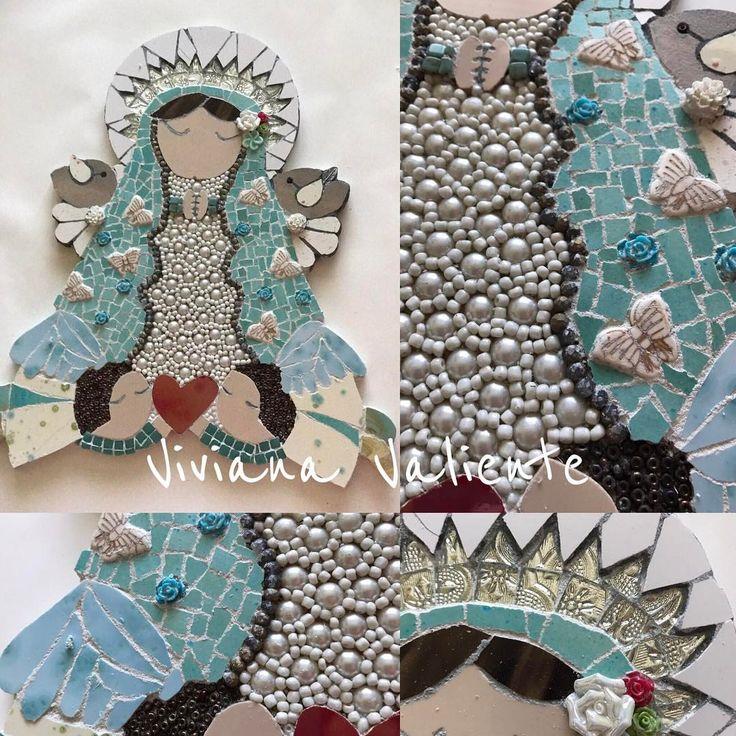 """26 Me gusta, 2 comentarios - Viviana Valiente M. (@vivitova) en Instagram: """"Virgen de Guadalupe. Hecha a mano, usando la técnica de Mosaico Mixed Media, mezcle diversos…"""""""