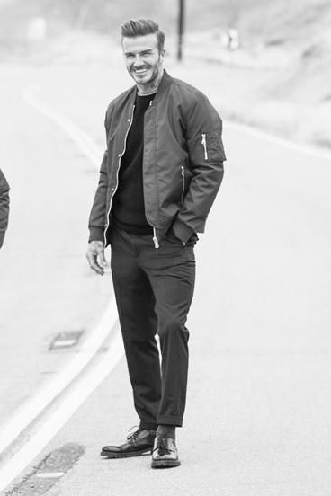 David Beckham wearing H&m Pilot Jacket, H&m Cropped Suit Pants and H&m Derby Shoes with Chunky Soles