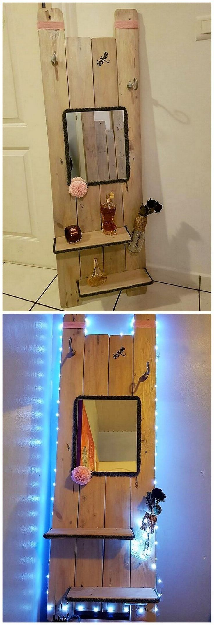 This wood pallet idea has been beautifully making you offer out with the access of the stylish house mirror frame. It would look so lovely as it would be attached along with it. You should try with this idea because it would give out a warm welcoming impression to the guests.