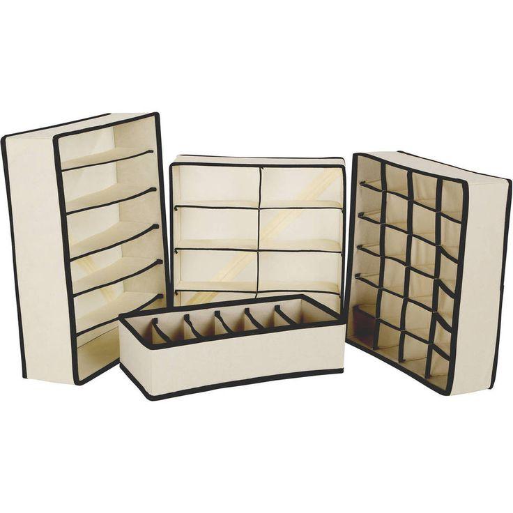 Tidy Living - Collapsible Storage Boxes Closet Organizer Drawer Divider 4PC Set
