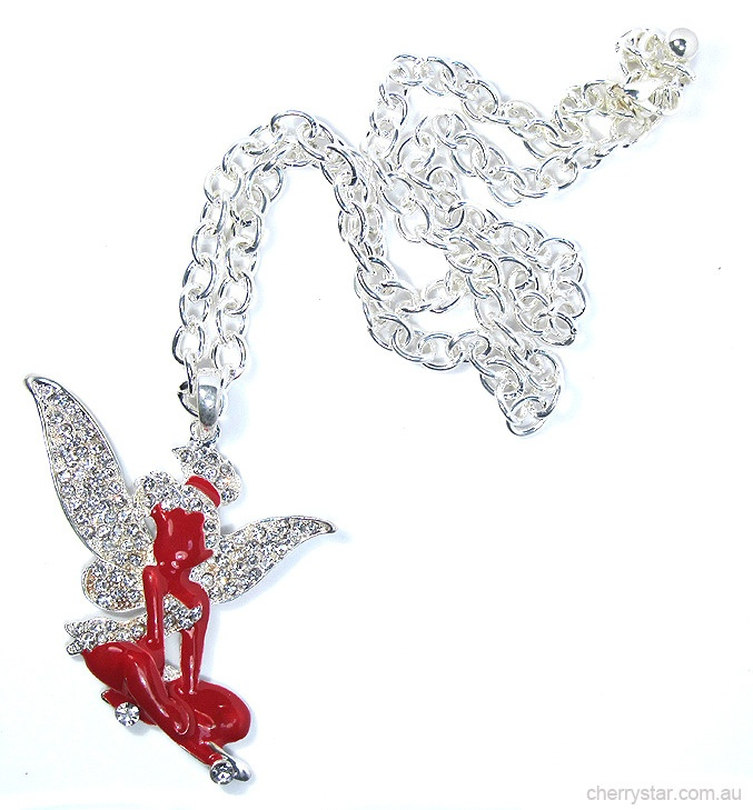 """""""Laughter is timeless  Imagination has no age  Dreams are forever""""  ― Tinkerbell  Large and lovely 6cm wide Tinkerbell pendant on a lightweight chunky silver chain.  Bright red enamel and diamante detail."""