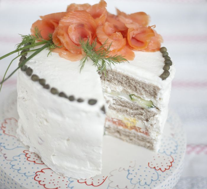 Smörgåstårta: Swedish Sandwich Cake ~ How cool is this!  Great for parties!   step-by-step pictorial