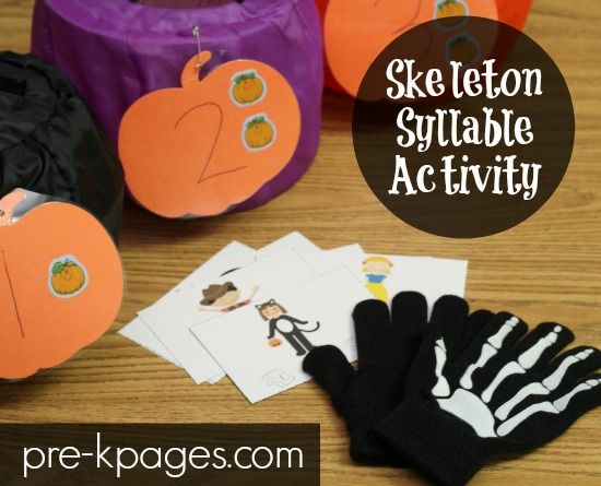 skeleton syllable activity halloween kidshalloween - Halloween Art For Kindergarten