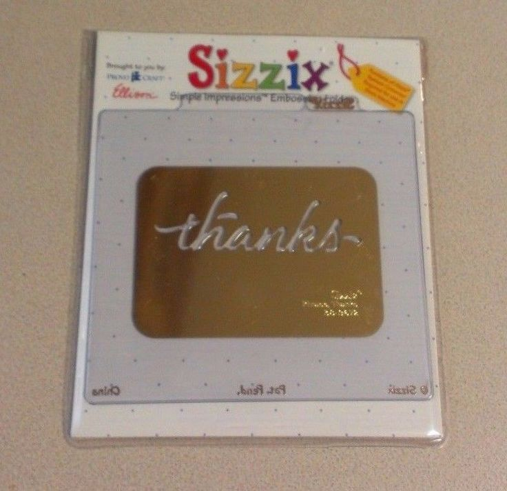 Sizzix Simple Impressions Embossing Folder Thanks 38-9672 Provo Craft Ellison #Sizzix