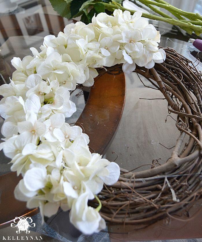DIY Hydrangea Wreath and Grapevine Wreath Form