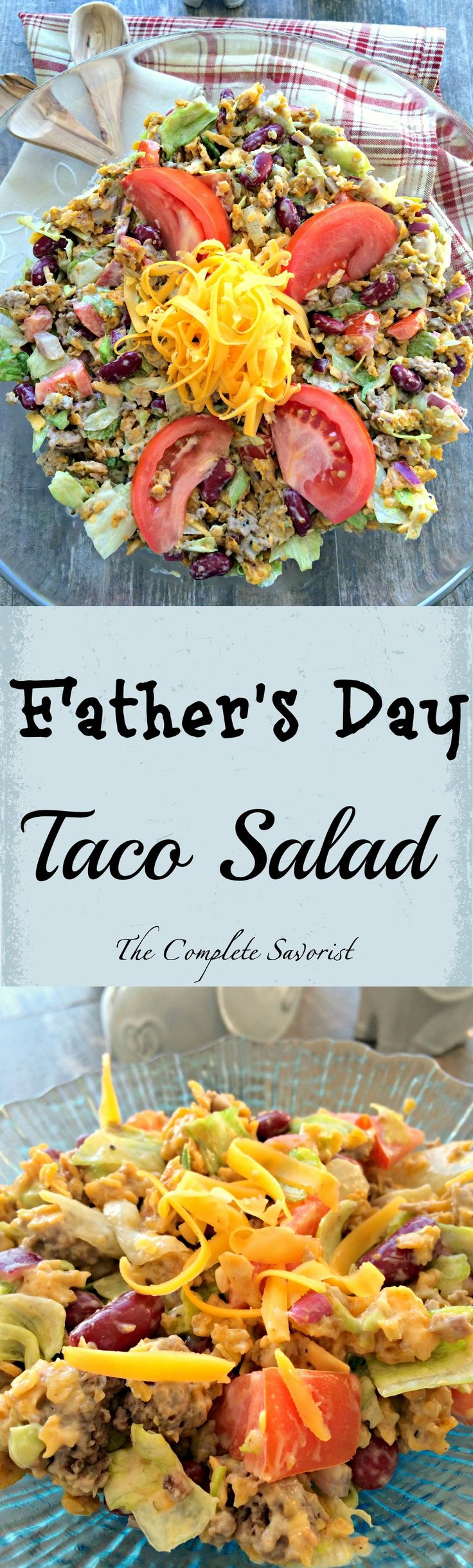 Father's Day Taco Salad ~ Taco salad with Green Goddess dressing and made crunchy with Doritos chips. ~ The Complete Savorist