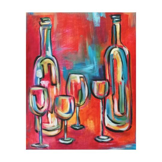 Wine Bottles and Glasses Red Blue Canvas Print    This is truly a Rich, Unique, and Bold Wine Wall Art Decor piece. These provide great kitchen decorating inspiration making wine wall art my favorite type of kitchen wall art.  Wine wall art works with most home decor themes including rustic, vintage, country, modern and even futuristic.  Wine wall decoratons are trendy, charming and cute.