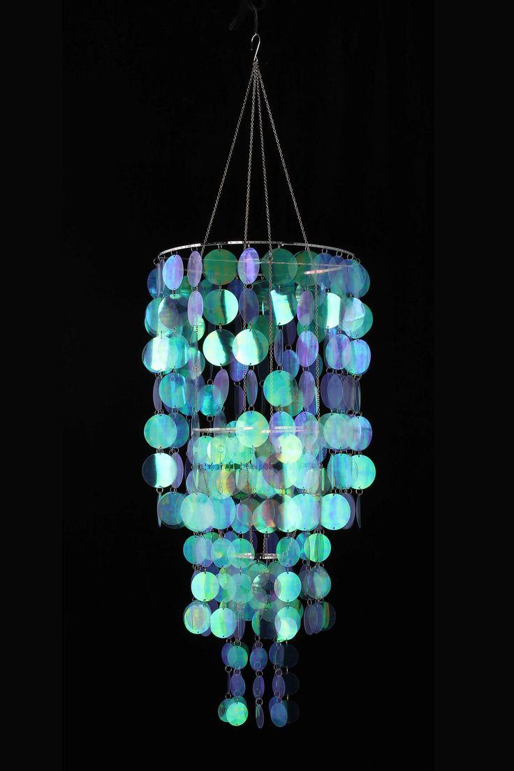 Glimmering Aqua Crystal Chandelier