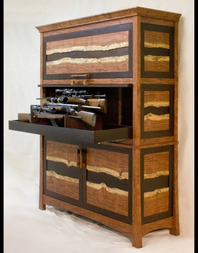 The Bubinga and Wenge Gun Safe Cabinet by Corlis Woodworks