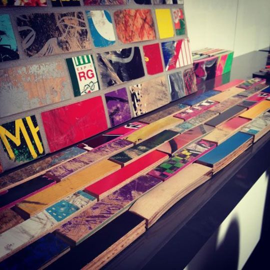 Skateboard Decks Upcycled as Wall Tiles by Art of BoardBacksplash Tile, Little Boys Room, Graphic Design Art, Interiors Design, Graphics Design, Skateboards Decks, Wall Tile, Music Room, Accent Wall