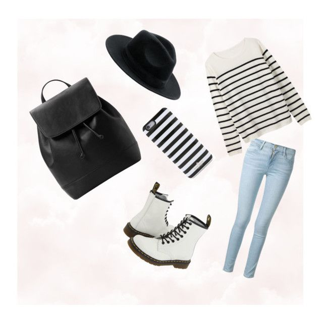 """""""Striped"""" by dadacookie on Polyvore featuring Frame Denim, Dr. Martens, Kate Spade and MANGO"""