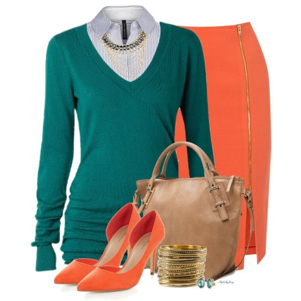 Time for Class by stylesbyjoey on Polyvore featuring moda, MANGO, Oasis, H&M, Anne Klein, pencilskirts, sweaters, stripedshirt and TealandOrange