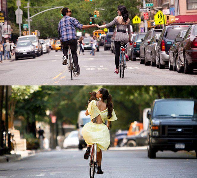 O projetoDowntownFromBehindreúne fotografias de pessoas andando de bicicleta em Nova York. O mais legal é que todas as fotos são tiradas mostrando as costas das pessoas.