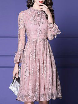 65c1eaf5e0b A-line Casual Guipure lace Solid Maxi Dress - StyleWe.com