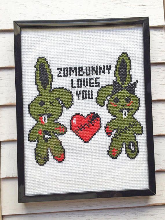 Zombunny Loves You Zombie Bunny Rabbit Cross Stitch DIY KIT